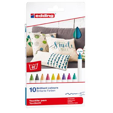 10 marcadores edding Textile 4600 colores cálidos 4600-099