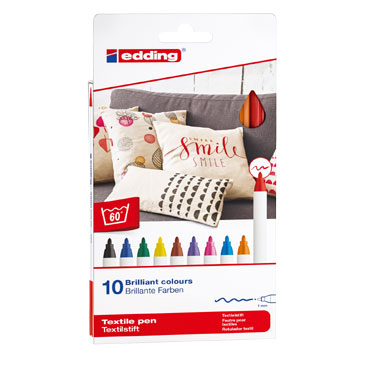 10 marcadores edding Textile 4600 colores básicos 4600-10-999