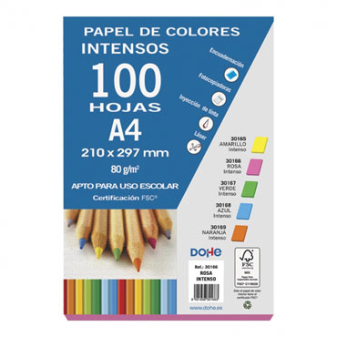 100 hojas papel rosa intenso 80 g/m² Din A-4 Dohe 30166