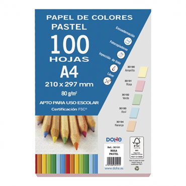 100 hojas papel rosa 80 g/m² Din A-4 Dohe 30191