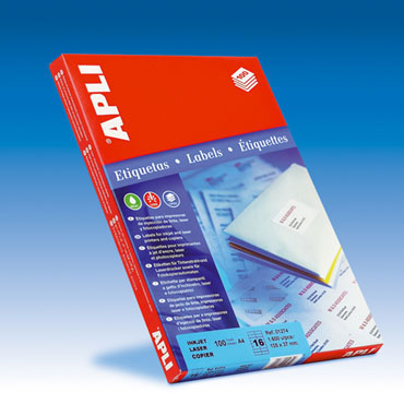 Etiqueta adhesiva 105x37 mm. 100HJ Din A-4 (1600U) Apli 01274