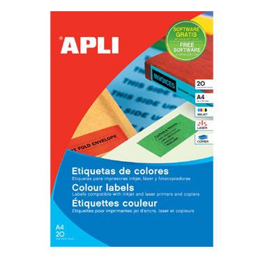Etiqueta adhesiva azul 210x297 mm. 20HJ Din A-4  Apli 01600