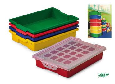 14 cubetas con tapa colores surtidos Faibo 786-00