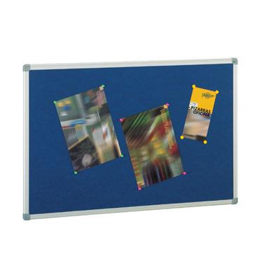 Tablero de corcho tapizado azul 90x120 cm. Faibo 611T-3A
