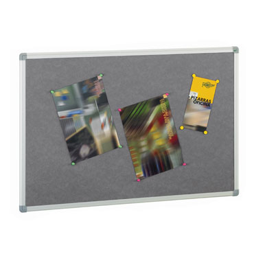 Tablero de corcho tapizado gris 90x120 cm. Faibo 611T-3G