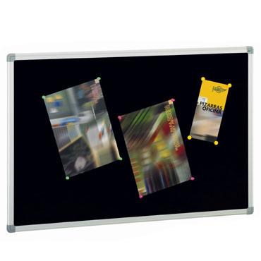 Tablero de corcho tapizado negro 90x120 cm. Faibo 611T-3N