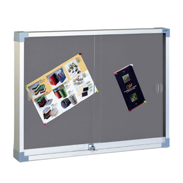 Vitrina de corcho tapizada gris 90x120 cm. Faibo 604T-3G