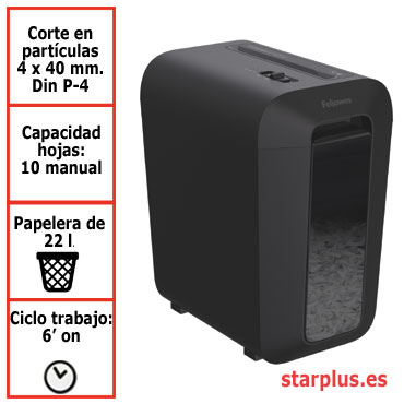 Destructora papel Fellowes LX65 negra uso moderado 4400701