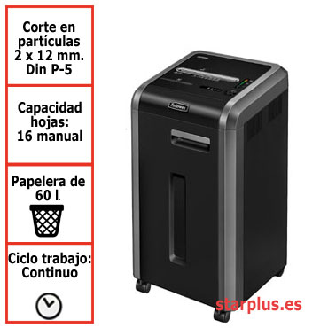 Destructora papel Fellowes 225Mi departamental uso continuo microcorte 4620101
