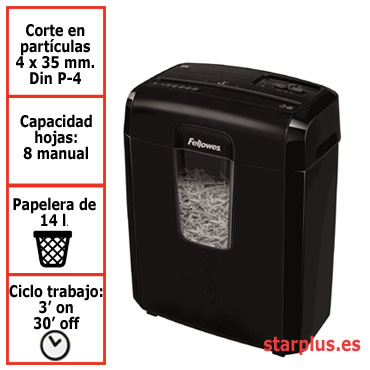Destructora papel Fellowes 8C negra uso moderado &4689601