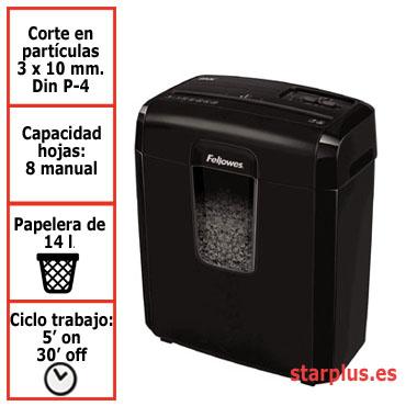 Destructora papel Fellowes 8Mc negra uso moderado microcorte &4692501