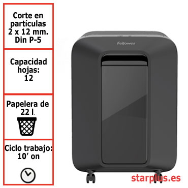 Destructora papel Fellowes LX201 negra uso moderado 5050001