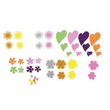 64 flores y corazones de EVA adhesivas purpurina Fixo 68002200