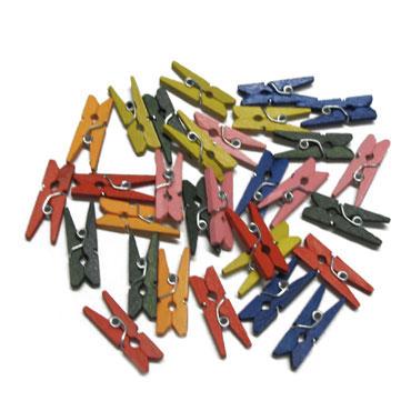 30 pinzas madera color pequeña Fixo 68005900