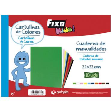 Bloc 10 cartulinas colores surtidos 24x35 cm. Fixo Kids 00072599