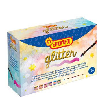 6 botes de 55 ml. de tempera glitter Jovi 518