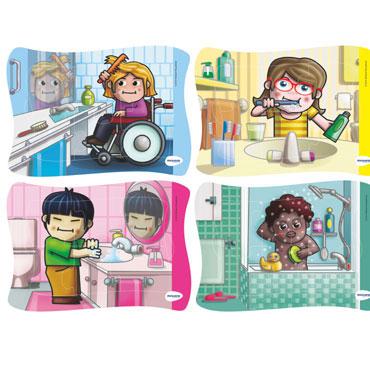 4 puzzles Mis hábitos de higiene Miniland 35370