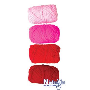 4 ovillos lana tonos rojos Niefenver 1100104