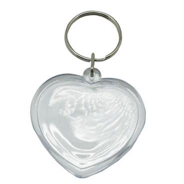 6 llaveros corazón plástico cristal Niefenver 1300156