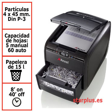 Destructora papel Rexel Auto+ 60X automática 2103060EU