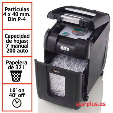 Destructora papel Rexel Auto+ 200X automática 2103175EU