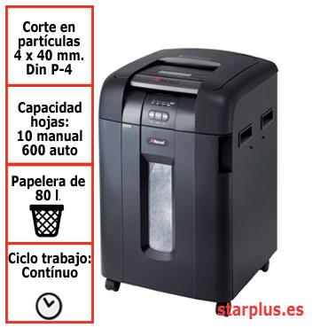 DESCATALOGADA Destructora papel Rexel Auto+ 600X automática 2020600XEU