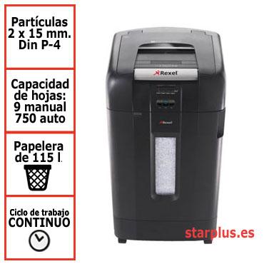 DESCATALOGADA Destructora automática Rexel Auto+ 750M con microcorte