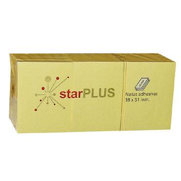 12xBL100 notas amarillas 38x51 mm. 77080160 starPLUS NOTA38
