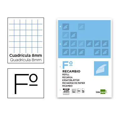 Recambio 100 hojas Folio c/8 mm. Liderpapel 05704