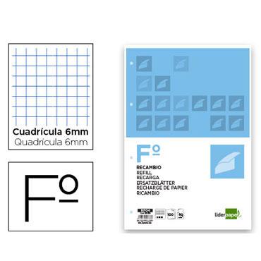Recambio 100 hojas Folio c/6 mm. Liderpapel 05736