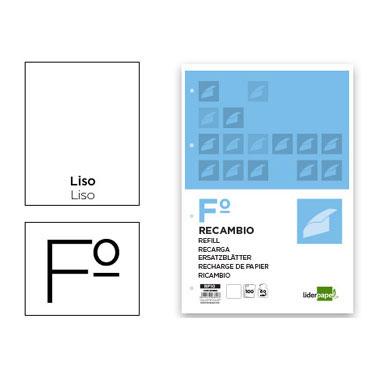 Recambio 100 hojas Folio liso Liderpapel 06822