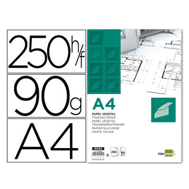 250 láminas vegetal A4 Liderpapel 44401