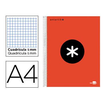 Cuaderno espiral A4 120HJ c/5 rojo Antartik Liderpapel 74583