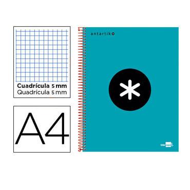 Cuaderno espiral A4 120HJ c/5 turquesa Antartik Liderpapel 74584