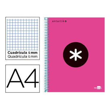 Cuaderno espiral A4 120HJ c/5 rosa flúor Antartik Liderpapel 74586