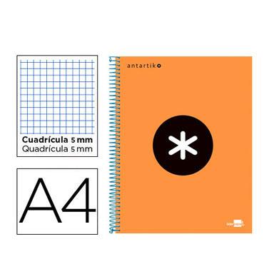 Cuaderno espiral A4 120HJ c/5 naranja flúor Antartik Liderpapel 74587