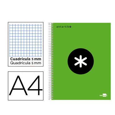 Cuaderno espiral A4 120HJ c/5 verde flúor Antartik Liderpapel 74589