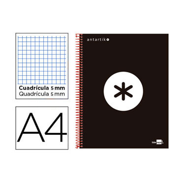Cuaderno espiral A4 120HJ c/5 negro Antartik Liderpapel 74591