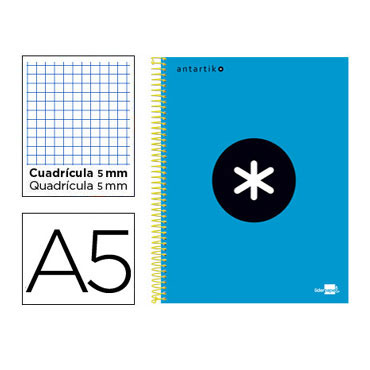 Cuaderno espiral A5 120HJ c/5 azul Antartik Liderpapel 74592