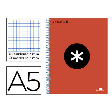 Cuaderno espiral A5 120HJ c/5 rojo Antartik Liderpapel 74593