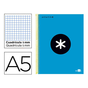Cuaderno espiral A5 120HJ c/5 turquesa Antartik Liderpapel 74594