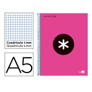Cuaderno espiral A5 120HJ c/5 rosa flúor Antartik Liderpapel 74596