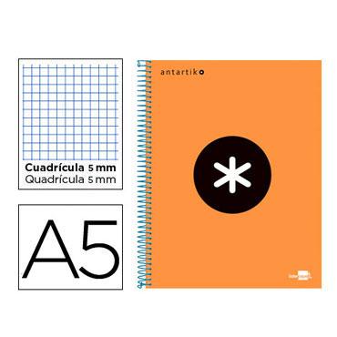 Cuaderno espiral A5 120HJ c/5 naranja flúor Antartik Liderpapel 74597