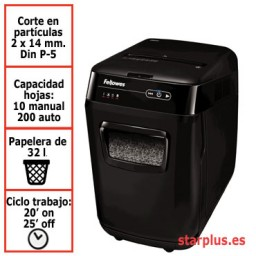 Destructora papel Fellowes Automax 200M automática microcorte 4656301