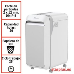 Destructora papel Fellowes LX221 blanca uso moderado 5050501
