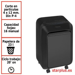 Destructora papel Fellowes LX210 negra uso moderado 5502501
